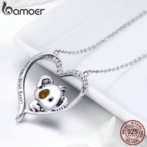 Image 4 - BAMOER High Quality Real 925 Sterling Silver Lovely Koala in Heart Pendant Necklaces for Women Sterling Silver Jewelry SCN256
