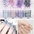 4 box/set Mujeres Profesionales de Belleza Nails Glitter Polvo Azul Púrpura Ultra Brillante Mezcla Hexágono Forma Nail Art Puntas de Decoración