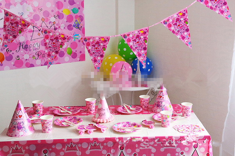 2015 Pink Crown Luxury Kids Party Packs Baby Happy Birthday Party