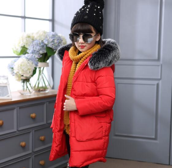 2016 hot Jacket Girl Casual Children Parka Winter Coat Duck Long Section Down Thick Fur Hooded Kids Jacket For Girls Outerwear
