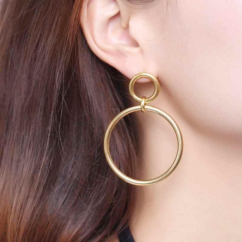 Meaeguet สแตนเลสสตีลที่ไม่ซ้ำกันคู่หญิงรอบวงกลมขนาดใหญ่ Hoop ต่างหูห่วงต่างหูเครื่องประดับ Brinco