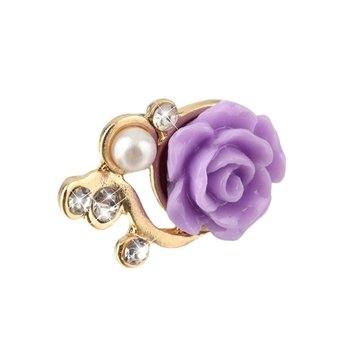 10 pcs Universal Colorful Rose Flower 3D Crystal Bead Pearl Anti Dust Plug Charms For 3.5mm Mobile Phone Headphone Dust Cap