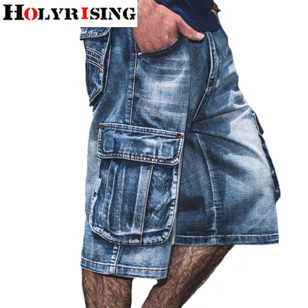 Holyrising verano Jeans hombres angustiados Jean ropa de calle con bolsillos con cremallera Jeans hombre becerro longitud azul Denim Pantalones Plus tamaño 30-46