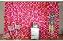 2.4M x 2.4M Wedding Flower Wall Pink with red Rose & Dalia flower backdrop wedding stage decoration