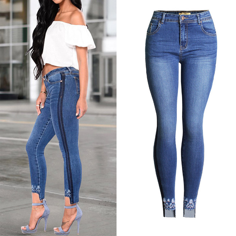 Women Casual Embroidery Bleached Sexy Tightly Skinny Jeans Plus Size Thigh Side Black Line Pencil Denim Pants Femme 2017 ZIH052 fandyfire mini portable 3 mode white light flashlight w cree xr e q5 grey 1 x 14500 or 1 x aa