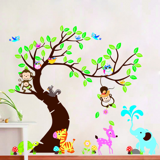 Boom Decoratie Kinderkamer.Us 11 37 8 Off Boom En Monkey Muursticker Kinderkamer Achtergrond Muur Sticker Diy Decoratie Nursery Daycare Babykamer Decor In Boom En Monkey