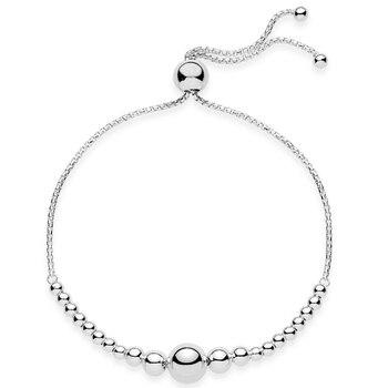 e245edbb90a6 Nueva plata de ley 925 pulsera de cadena de cuentas de ajustar la pulsera  brazalete Ajuste