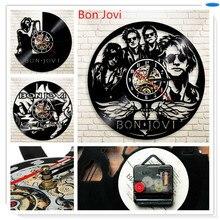 Preto Disco de Vinil Feitos À Mão 3D Bon Jovi 12 polegada Design Moderno Relógio de Parede Decorativos Relógio de Tempo Adesivo de Parede