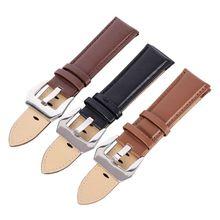 Wholesale Men Genuine Leather Wrist Watch Band Stainless Steel Buckle Wristwatch Strap 20 22 24mm