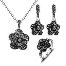 Antiguo Collar De La Joyería Conjunto Plateado Plata Moda Retro Negro Rhinestone de la Flor de La Vendimia Sistemas de la Joyería de Regalo de Las Mujeres