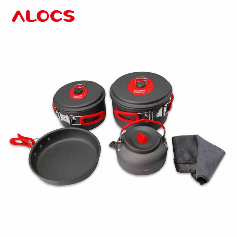 7PCS Camping Cookware Set Picnic Folding Pans Flying-Pan Kettle Super Light Outdoor Pot Skillet Flambe Pan 2-4 People CW- C06S 10pcs camping cook set with alcohol furnace wind cap super light 985g hard alumina pot outdoor pan flambe pan 2 4 people c05
