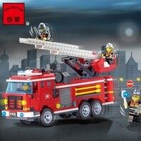 עיר אש משאית כבאי בובות אבני בניין ערכת DIY מודל הרכבה ילדים חינוכיים צעצוע לבני ילדי חג המולד מתנת יום הולדת