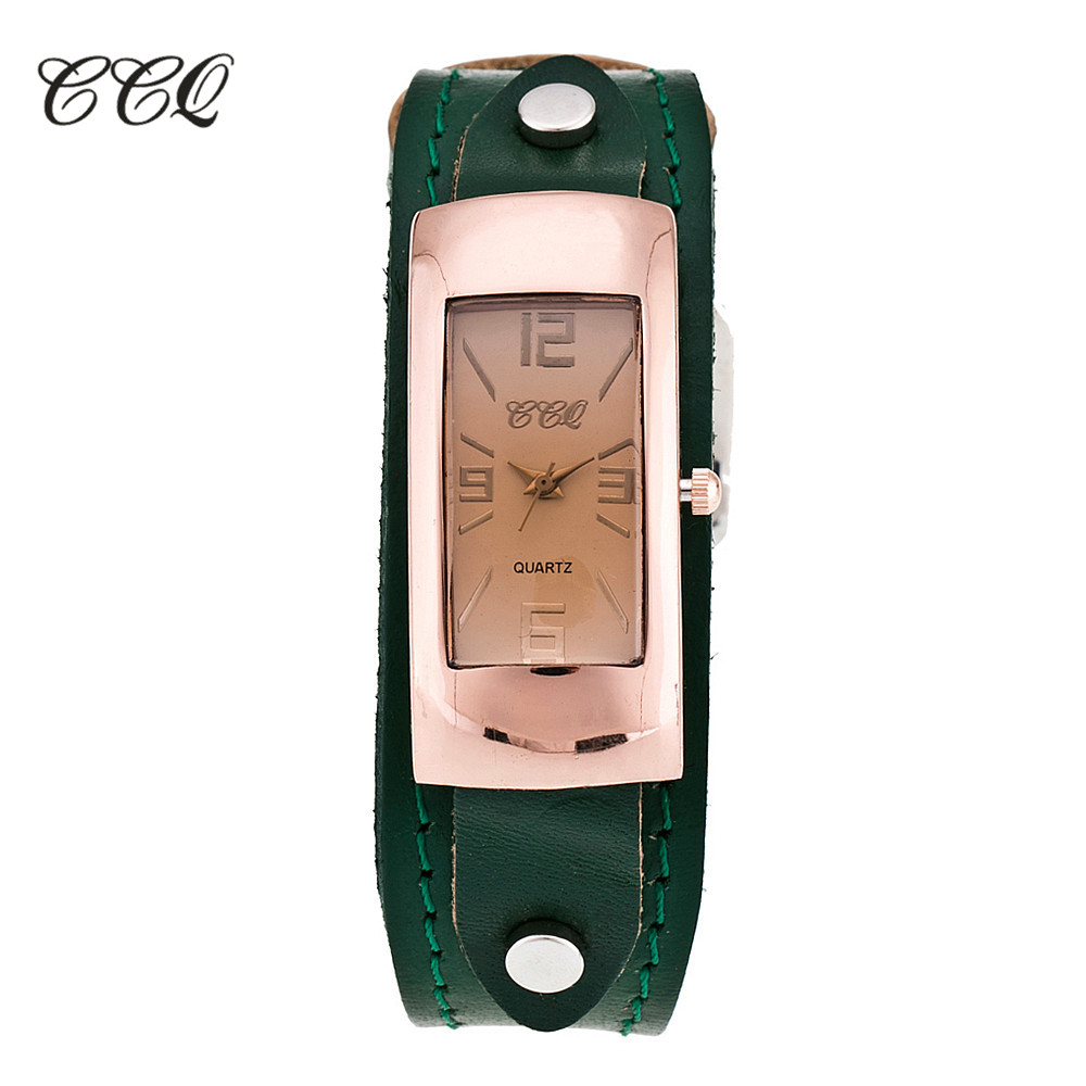 2017 Ccq Marke Vintage Echtem Leder Armband Uhr Mode Lässig Frauen Quarz Uhren Armbanduhr Geschenk C07
