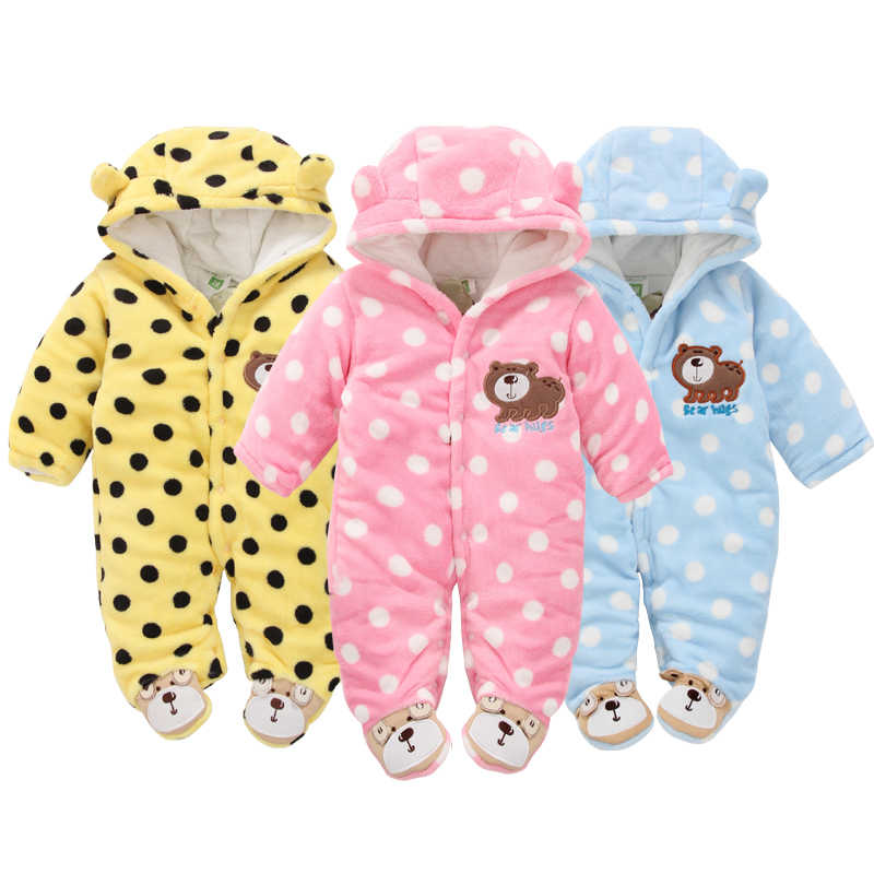 0ce7e89afa725 2018 Winter Baby Rompers Coral Fleece Warm Boy Clothes Newborn Girls  Snowsuit Cartoon Bear Hooded Overalls