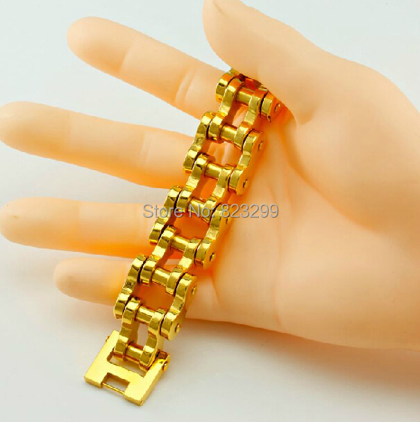 1pcs exquisite fashion bicycle giant Heavy Mens Stainless Steel Gold Bracelet (length: 23cm, width: 18mm weight: 146g)