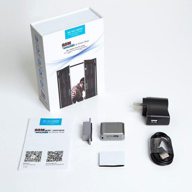 Дверной замок, сим карта, мини независимый GPS трекер, дверной магнитный Вибрационный сигнал, активное прослушивание, вибросигнал