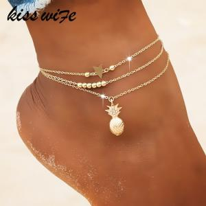 KISSWIFE Pendant Anklet Beaded Foot-Jewelry Pineapple Beach Women Summer for Fashion-Style