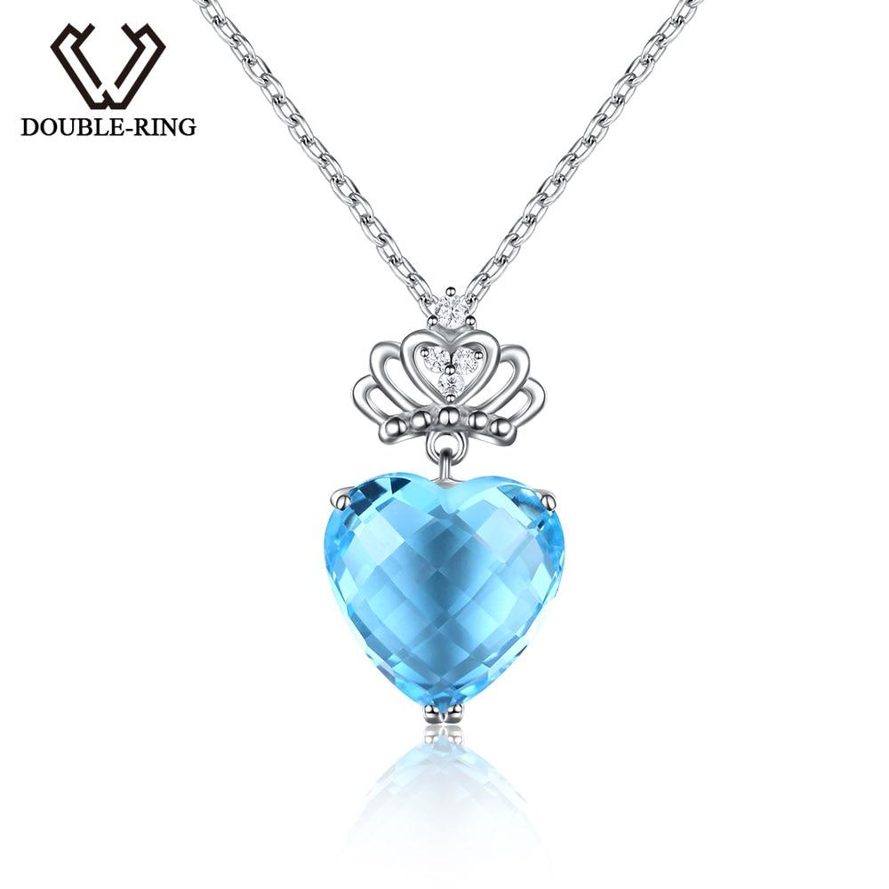 DOUBLE-R 8.75ct Genuine Natural Topazio Azzurro Collane Pendenti Del Cuore Reale 925 Sterling Silver Belle Sposa Monili Delle Donne