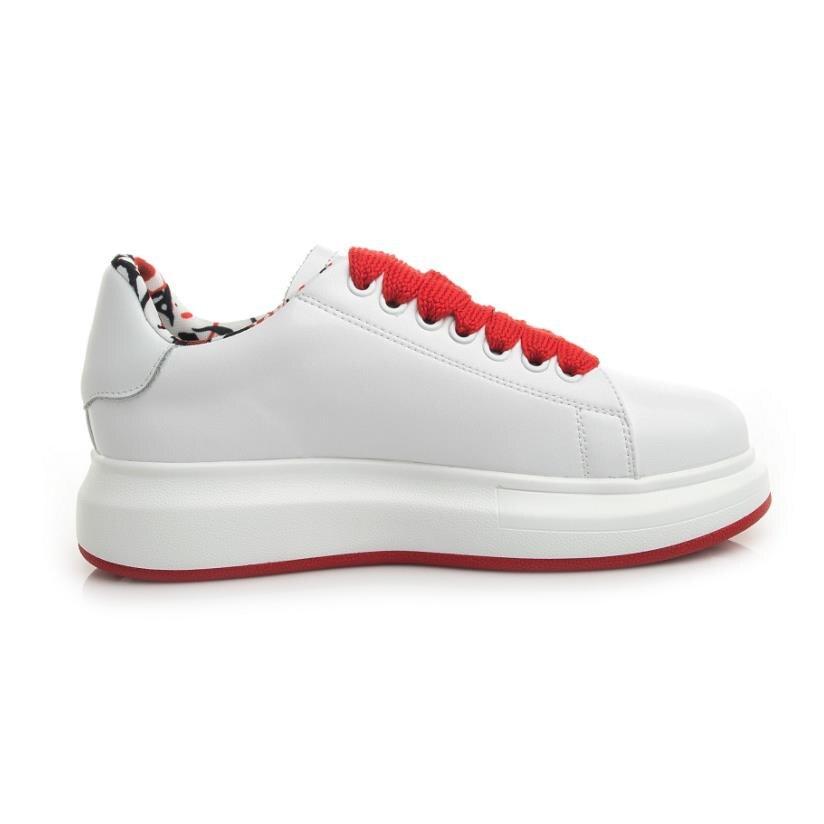 Aus white Frauen Weiß Leder Lace Plattform Fashion Casual Turnschuhe Schuh Trainer Schuhe Up Marke Echtem Black Freizeit Sneakers dqwAxTdg