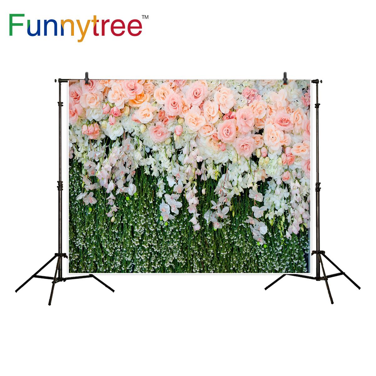 Funnytree background for photography pink rose flower grass wall decoration wedding backdrop photo studio photocall new christmas photo background rose daisy flower professional new born xmas photography photocall background pictures