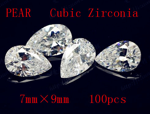 MRHUANG Shine !100pcs/pack Grade AAA Crystal Clear CZ Cubic Pear 7*9MM Zirconia Stone DIY Beads For Jewelry Finding Hot!