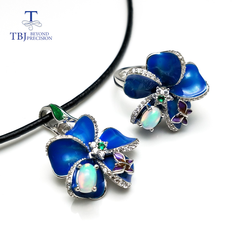 TBJ,2018 new enamel jewelry set with natural opal 925 sterling silver flower jewelry with leather cord necklace for women gift tbj 2018 new enamel jewelry set pendant earring ring 925 sterling silver fine jewelry with leather chord necklace for women gift