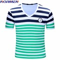 NORMEN Brand 2017 New Design Men's Fashion T-Shirt Cotton Comfortable Thin Shirt For Men Striped Casual Short Sleeve Streerwear