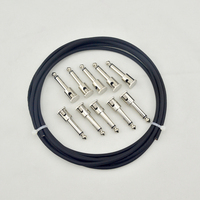New DIY Guitar Patch Cable Solder Free Kit Pedalboard 10ft 10 Mono Plugs In Black