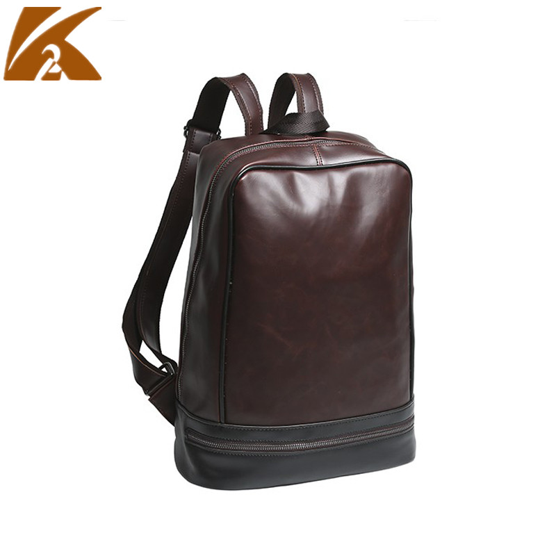 """2018 Fashion Genuine Leather Backpack Men Crazy Horse School Bags for Teenage Students 14"""" Laptop Bagpack Travel Rucksack Coffee"""