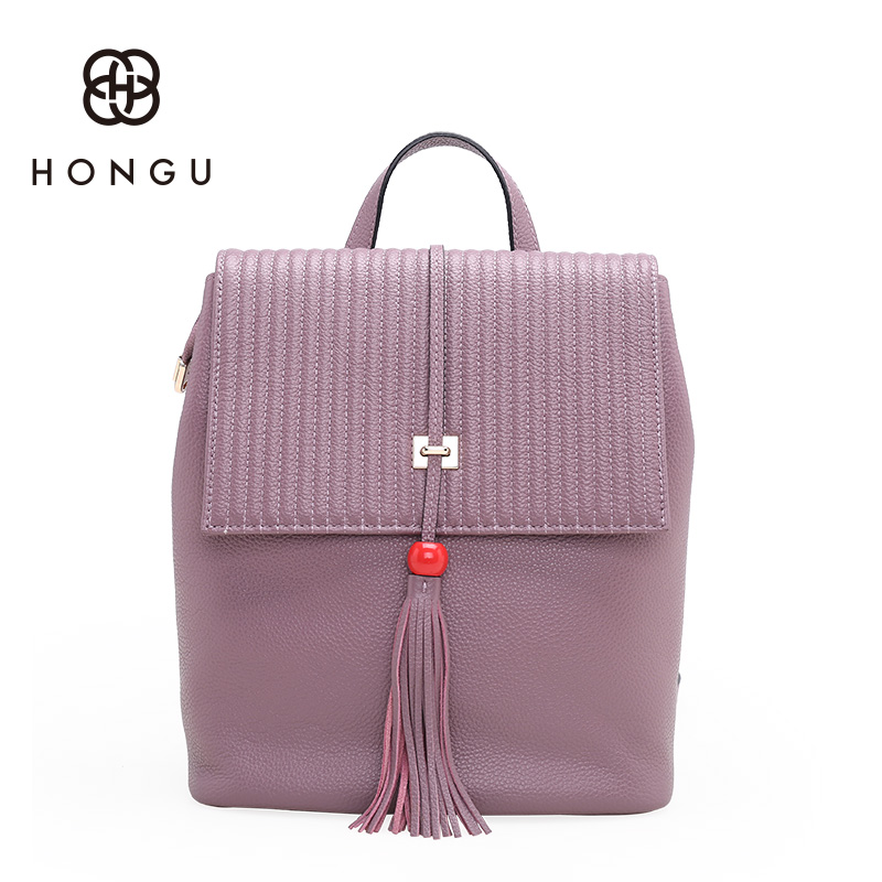 Hongu Genuine Leather Women Luxury Tassel Backpack Famous Brands Girls school Killer bags Leisures travel Bags mochila feminina kenwood kenwood kfc ps3016w