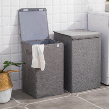 Cotton Laundry Basket With Cover Bathroom Large Kitchen Storage Home Collapsible Waterproof Hamper