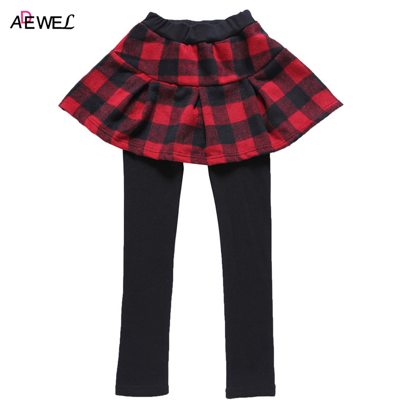 ADEWEL New Autumn Winter Kids Skirt-Pants 3 4 5 6 7 8 9 10 11 12 Year Girls Leggings Classic Plaid Children Trousers for Girls