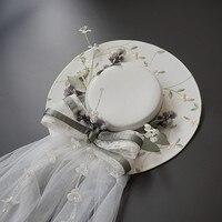 European White Linen Hat High End Atmosphere Light Green Summer Beach Bride Veil Headdress 32CM 0410 07