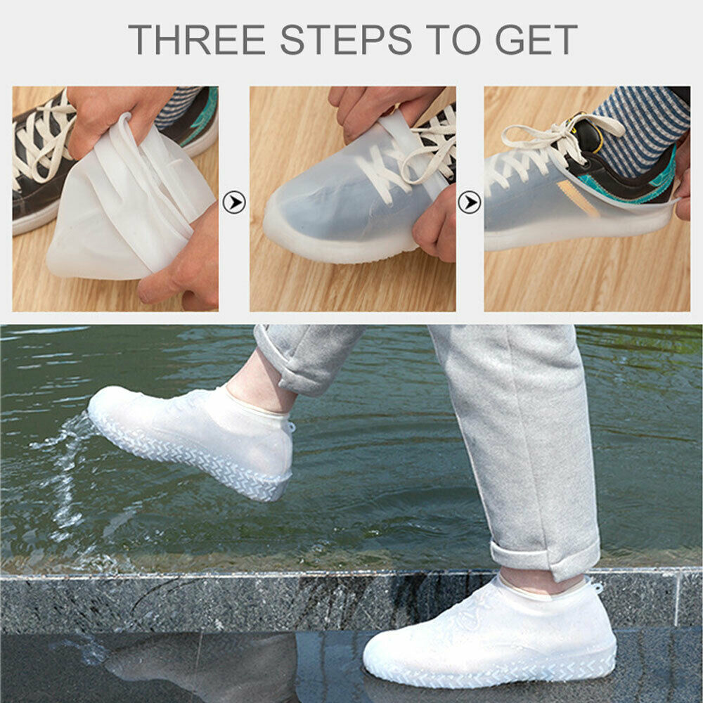 Silicone Overshoes Rainrproof Shoe Covers Boot Cover Protector Non-slip Black