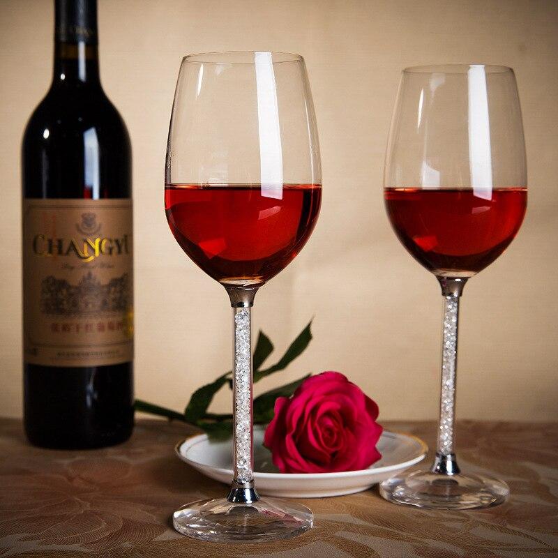 Купить с кэшбэком High-grade lead-free crystal wine glass with diamond cup goblet wedding wine glass drill with high-grade suit