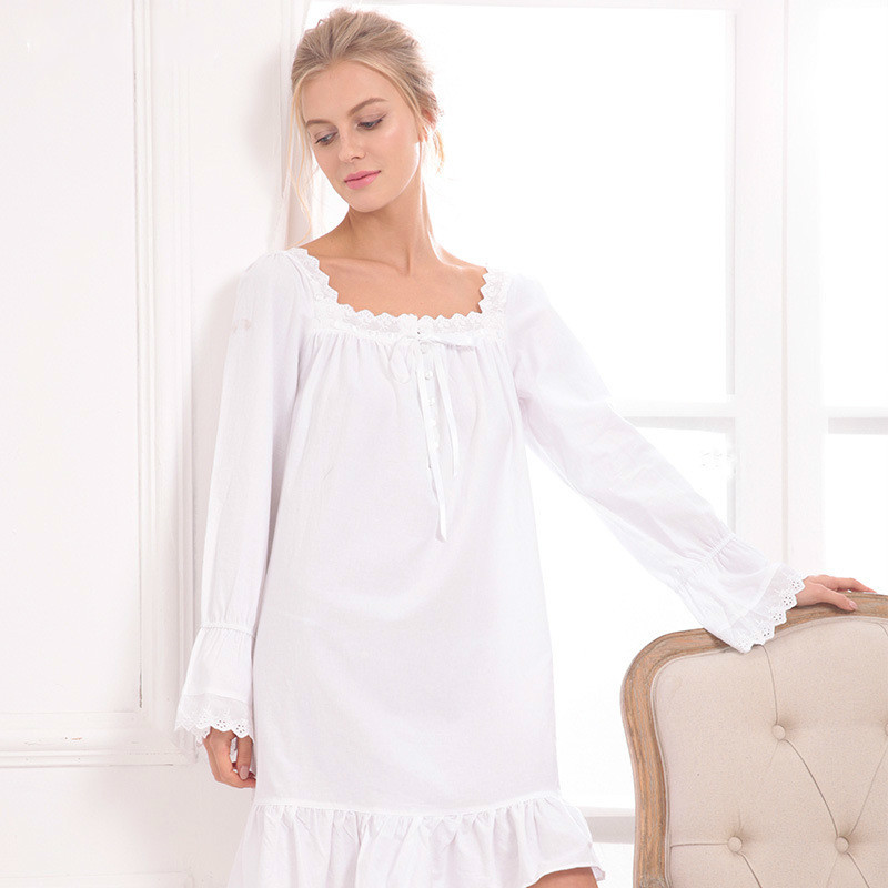New Arrival Vintage   Nightgowns     Sleepshirts   Elegant Lady Dresses Princess Sleepwear Print Home Dress Lace Sleep & Lounge
