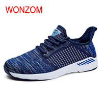 WONZOM New Arrival Fashion Breathable Mesh Casual Shoes For Men Lightweight Comfortable Male Flats Casual Shoes