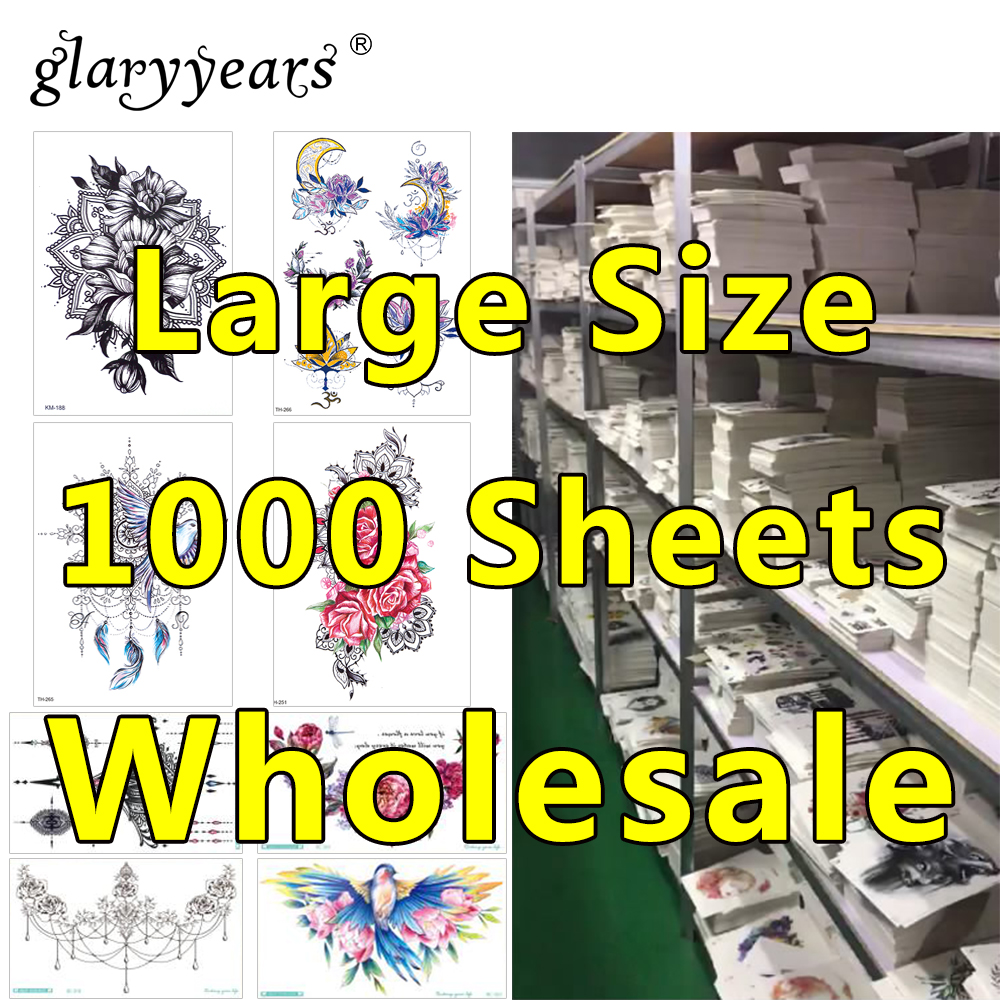 1000 Pieces Wholesale Waterproof Temporary Tattoo Sticker 3D Decal Flower Owl Eagle Body Art Tattoo Sticker Sexy Makeup Products