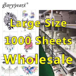 Image 1 - 1000 Pieces Wholesale Waterproof Temporary Tattoo Sticker 3D Decal Flower Owl Eagle Body Art Tattoo Sticker Sexy Makeup Products