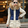 2016 Winter Jacket Women Parka Hooded Jacket Fashion Thicken Cotton Padded Jacket Fur Collar Coat Long Parkas