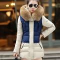 2016 Winter Jacket Women Parka Hooded Jacket Fashion Thicken Cotton Padded Jacket Fur Collar Coat Long Parkas