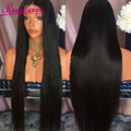 7A Glueless Llenas Del Cordón Peluca de Cabello Humano Brasileño de la Virgen Del Frente Del Cordón Cabello Humano Recto de Pelucas de Pelo humano para Las Mujeres Negras U Parte pelucas