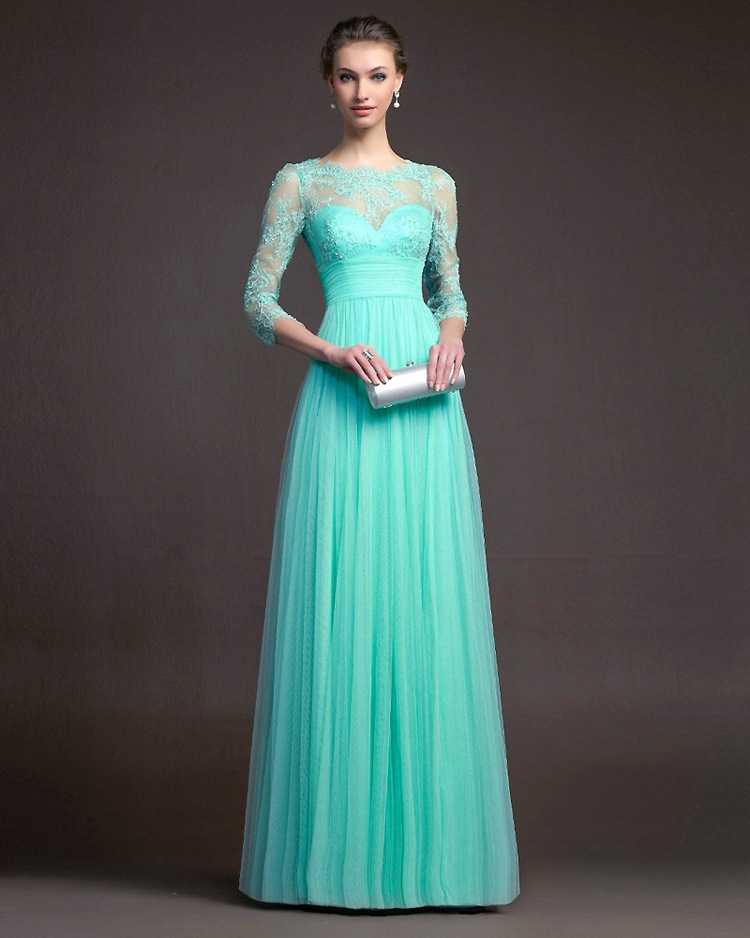 New 2019 New Tiffany Blue Long Modest Bridesmaid Dresses With 3 4 Sleeves Lacetulle Floor Length Wedding Guests Dresses Cheap