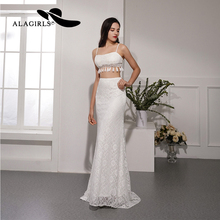 Alagirls 2019 New Arrival Sexy Evening Dress Crop Top Gowns 2-Piece Mermaid Party dress Ivory color Prom  Dresses