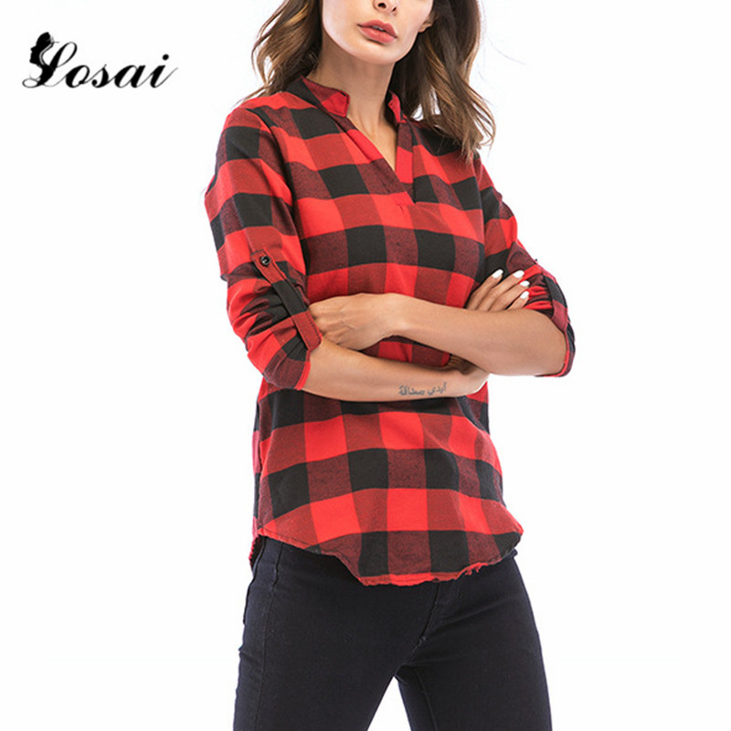 Women Fashion Off Shoulder Loose Red Plaid Long Sleeve Casual Blouse Lattice Tops Blouses & Shirts