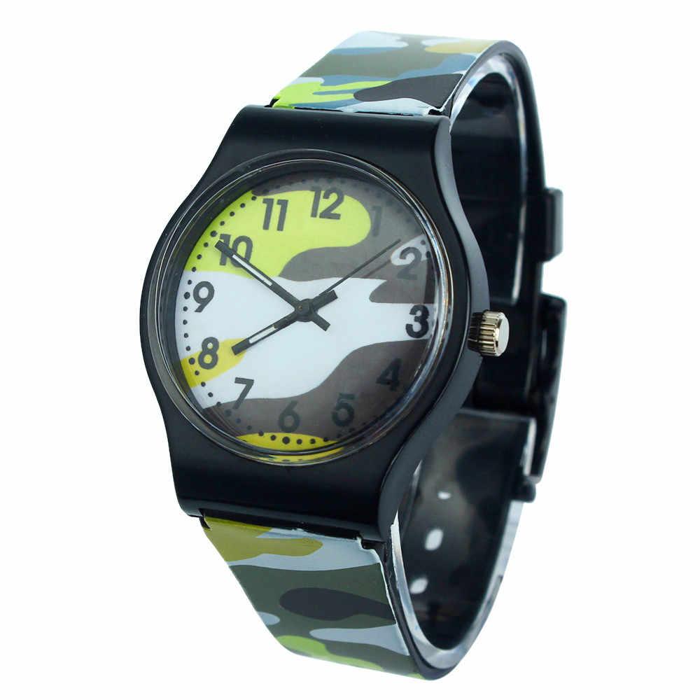 Camouflage montres enfants montre-bracelet garçons filles étudiants horloge Sport cadeau Relojes vert Cool enfants Silicone montres