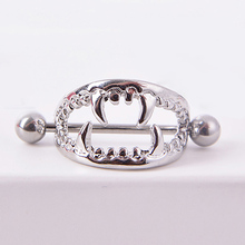Women Punk Vampire Teeth Nipple Shield Surgical Steel Body Piercing Nipple Ring