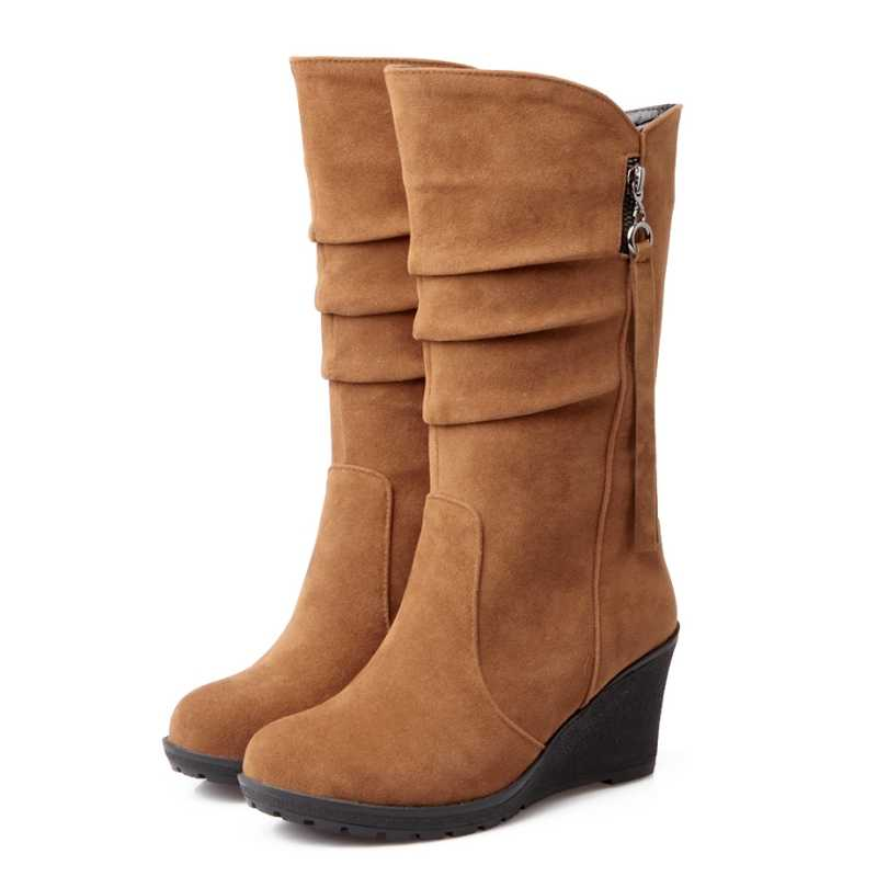 BONJOMARISA Büyük Boy 34-43 Kalite Sıcak Sonbahar Kış Ayakkabı Kadın Orta Buzağı Kama Ayakkabı Kadın Slip-On pileli binici çizmeleri