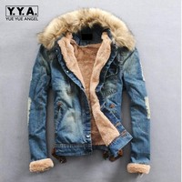 2016 New Winter Men S Water Washed Denim Jacket Teenagers Plus Velvet Fur Collar Denim Jackets