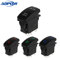 ADPOW 5pin Laser Push Button Rocker Toggle Switch LED Bar Light Waterproof Auto Led Light Bar Rocker Switch 12V